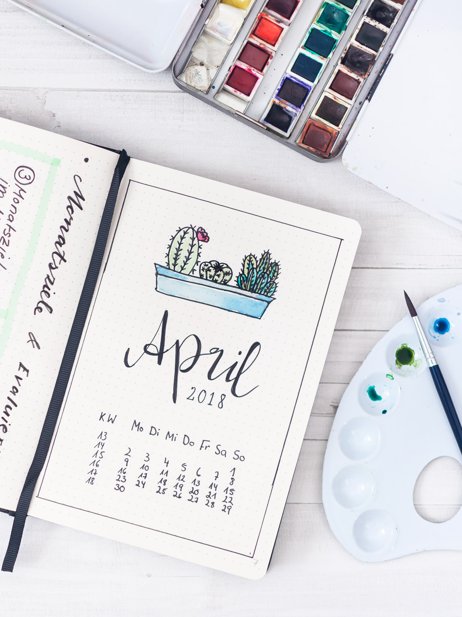 Cover Seite für den Monat April. #bulletjournal #dotted #notizbuch #layout #material #anleitung #aquarell #watercolor #ideen #inspiration #bujo #setup #monatsseiten #übersicht #deckblatt