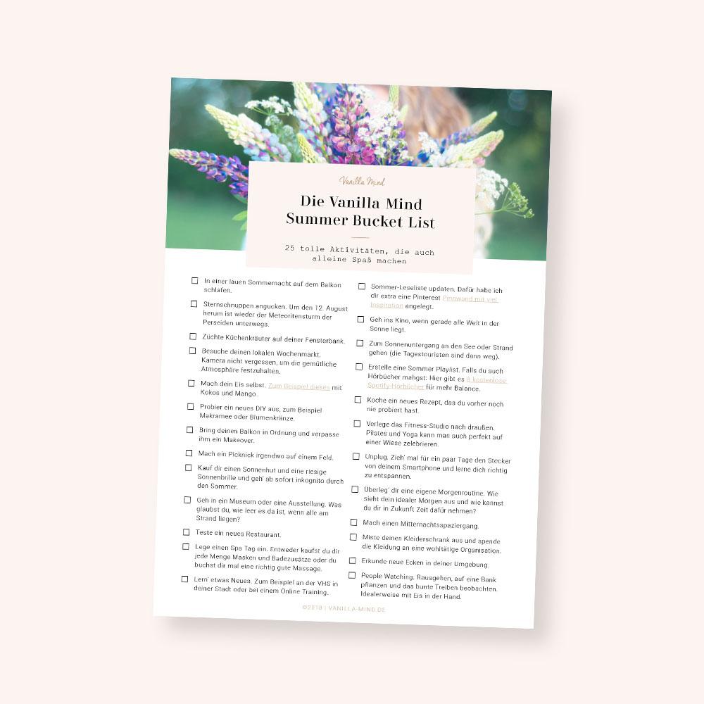 Kostenloser Download: Deine Summer Bucket List als PDF #sommerspaß #sommer #ideen #introvertiert #hochsensibel #bucket #liste
