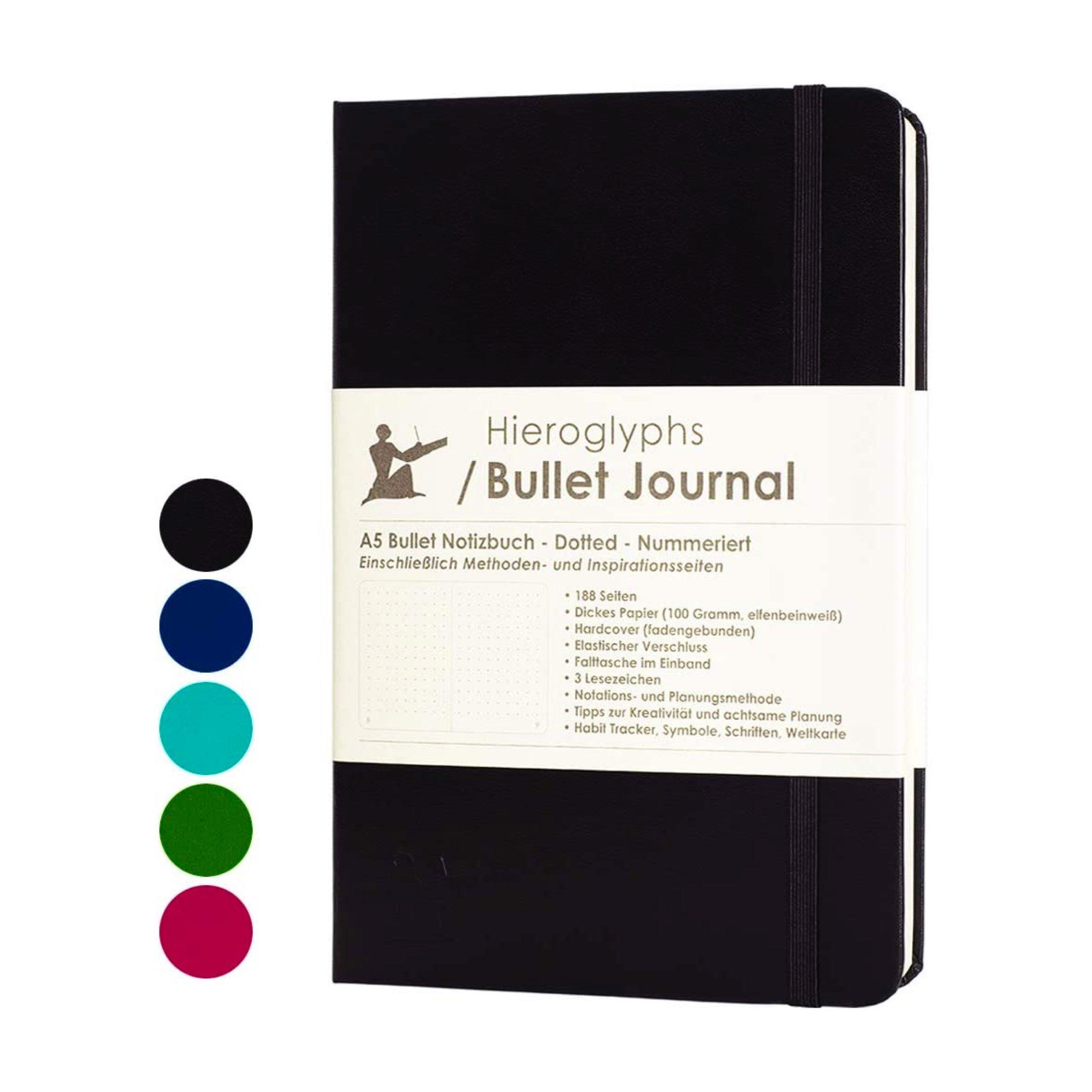 Das Hieroglyphs Bullet Journal in Schwarz*. Es hat nummerierte Seiten, eine Falttasche, 3 Lesezeichen, ein Verschlussgummi und insgesamt 188 Seiten. 164 beschreibbar, der Rest ist eine kurze Anleitung.